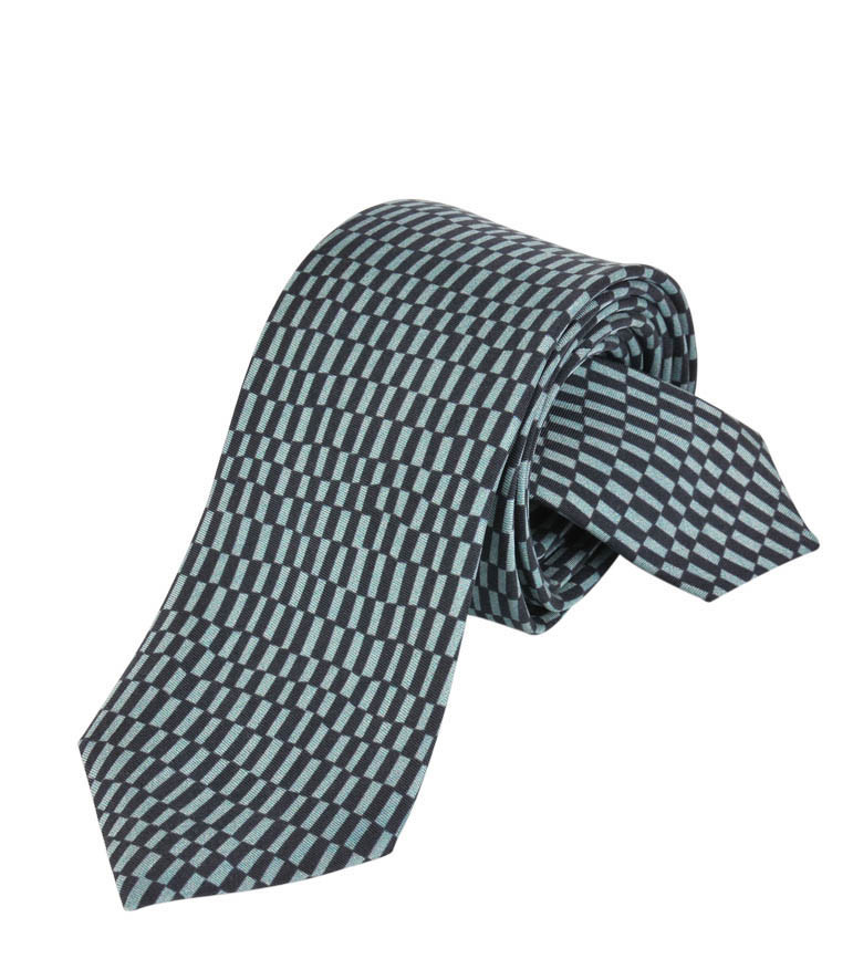 Green and Black rectangles Silk Tie Delaunay