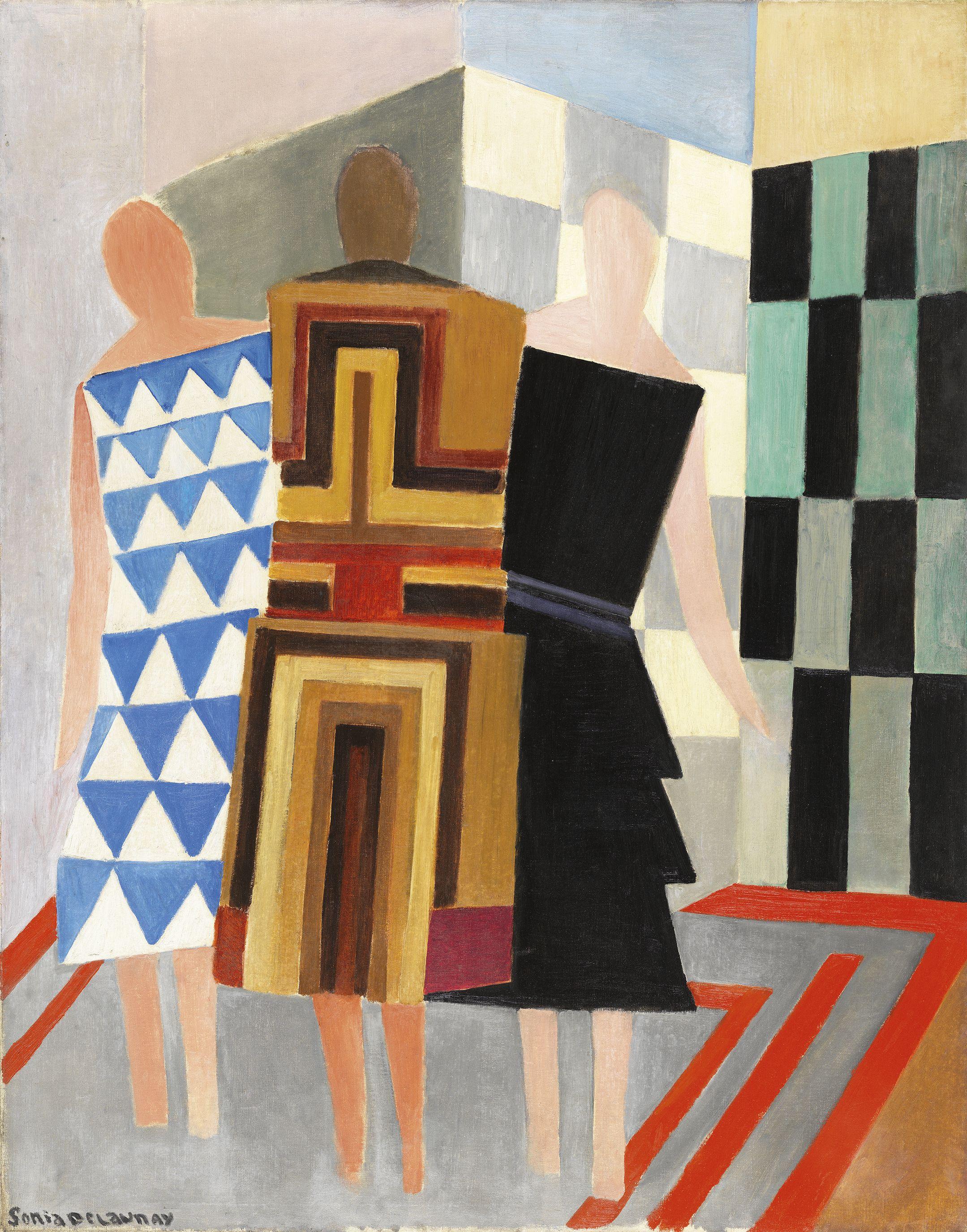 Vestidos simultáneos (Tres mujeres, formas, colores)