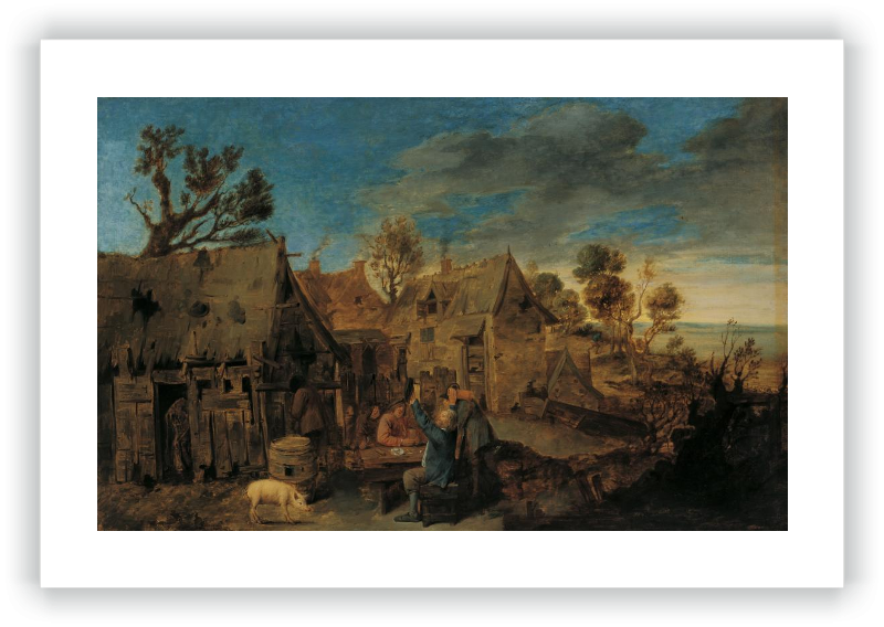 Village Scene With Men Drinking Brouwer Adriaen Attributed To Museo Nacional Thyssen Bornemisza