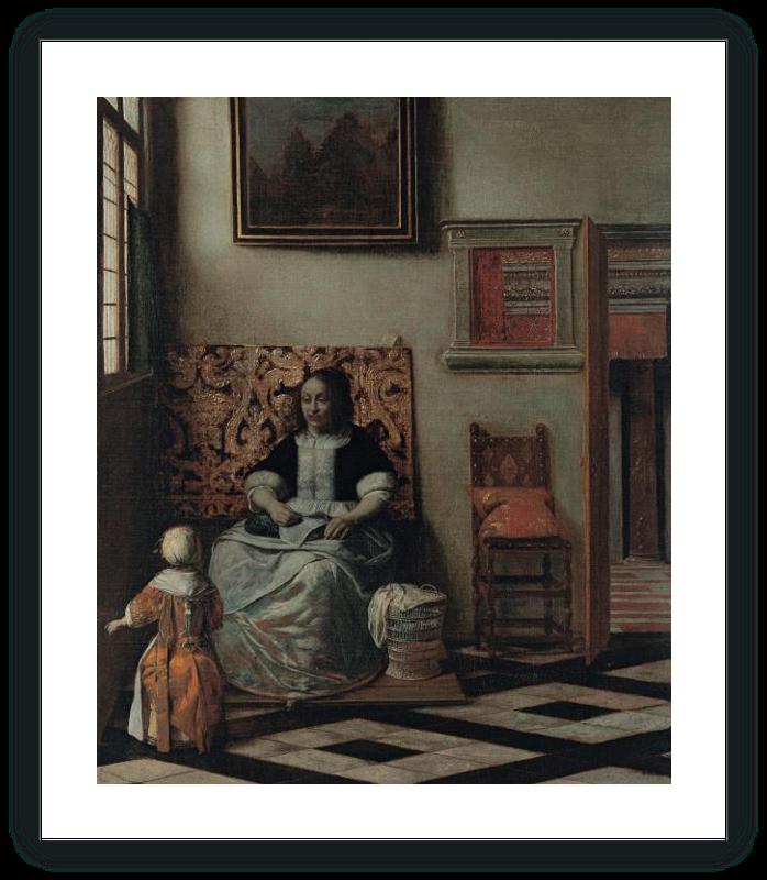 zoom Interior con una mujer cosiendo y un niño