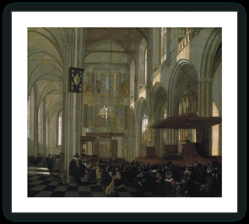 zoom Interior de la Nieuwe Kerk en Amsterdam, durante el oficio