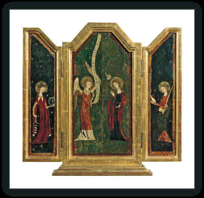 zoom Tríptico de la Anunciación: La Anunciación (tabla central), Santa Catalina (tabla interior izquierda), Santa Inés (tabla interior derecha)