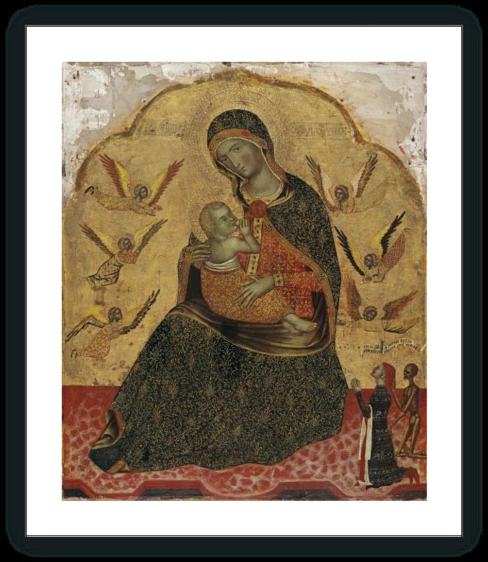 zoom Virgen de la Humildad con ángeles y un Donante
