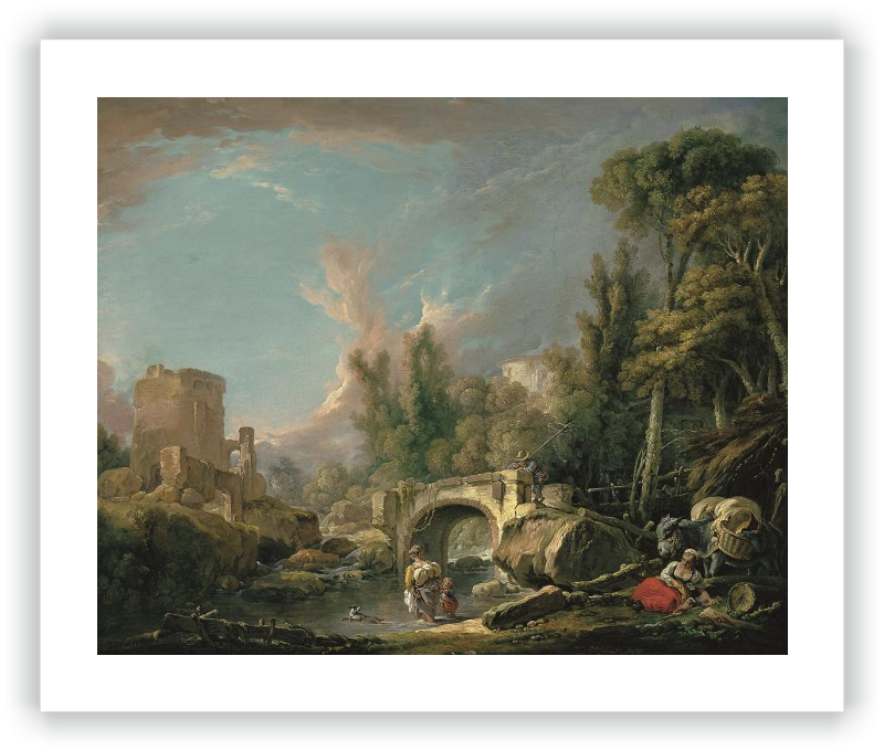 zoom Paisaje fluvial con ruina y puente