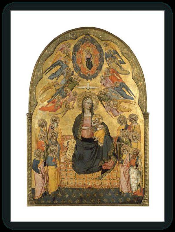 zoom La Virgen de la Humildad con el Padre Eterno, el Espíritu Santo y los doce apóstoles