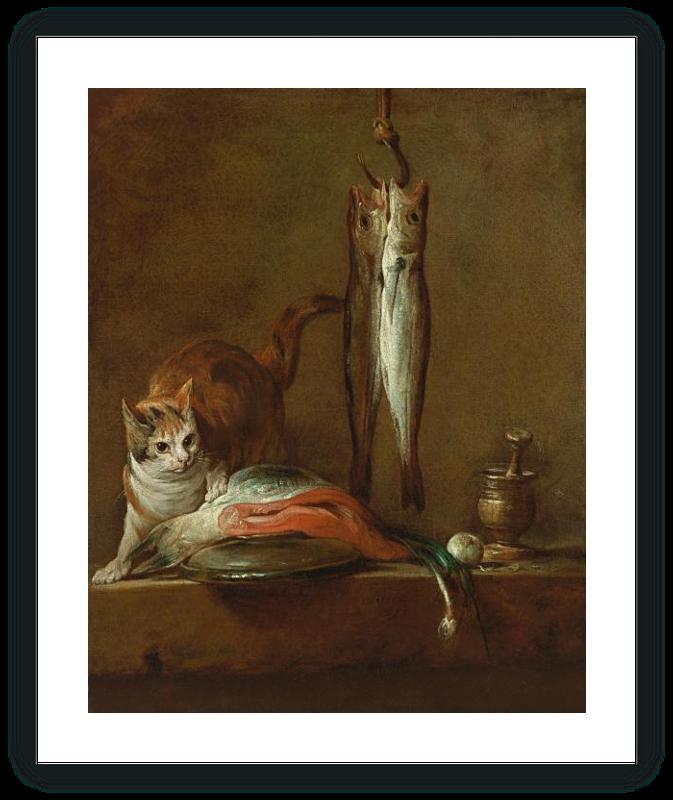 """zoom Bodegón con gato y pescado (""""El ladrón con buena fortuna"""")"""