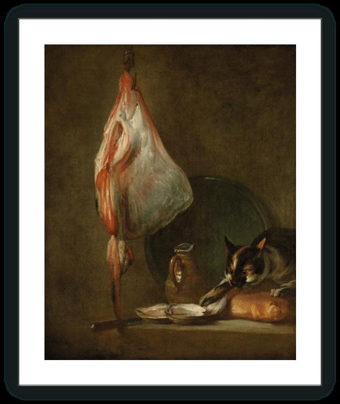 """zoom Bodegón con gato y raya (""""El gato goloso de ostras"""")"""