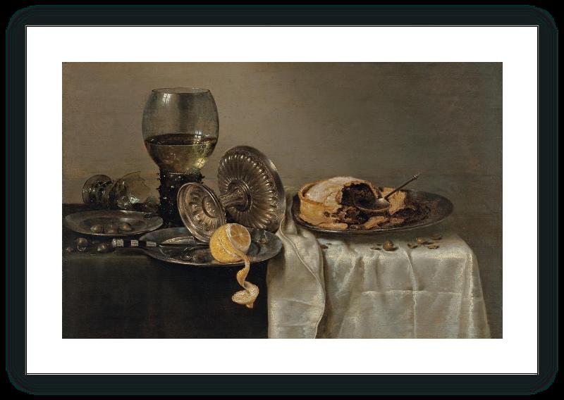 zoom Bodegón con pastel de frutas y diversos objetos
