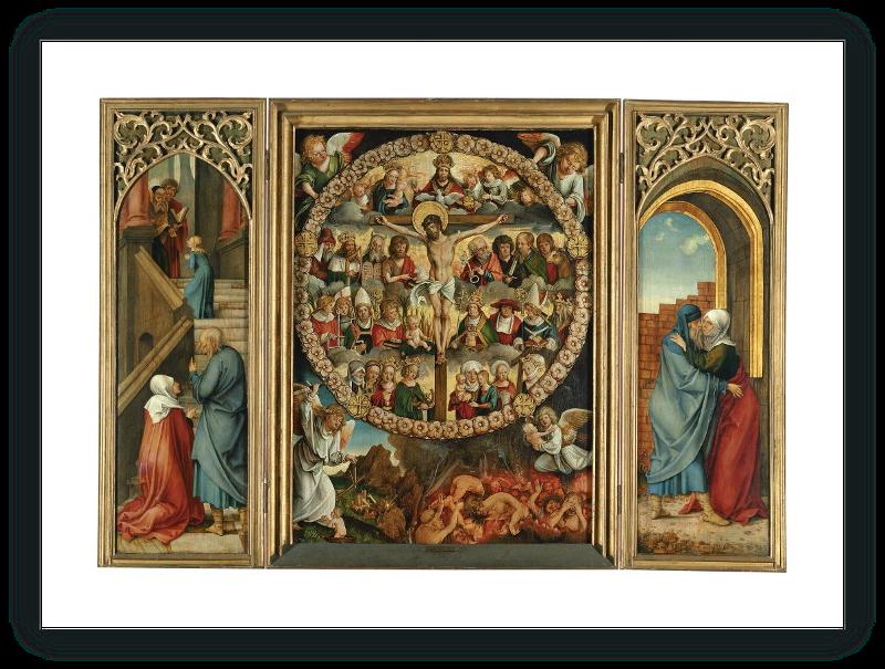 zoom Tríptico del rosario: La Crucifixión (tabla central), La Presentación (tabla interior izda.), El abrazo en la puerta dorada (tabla interior dcha.)