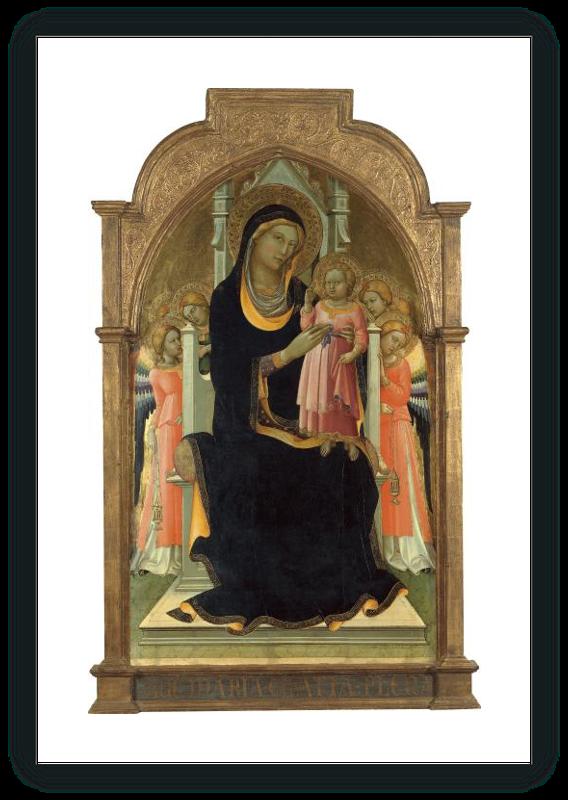 zoom La Virgen y el Niño en el Trono con seis ángeles
