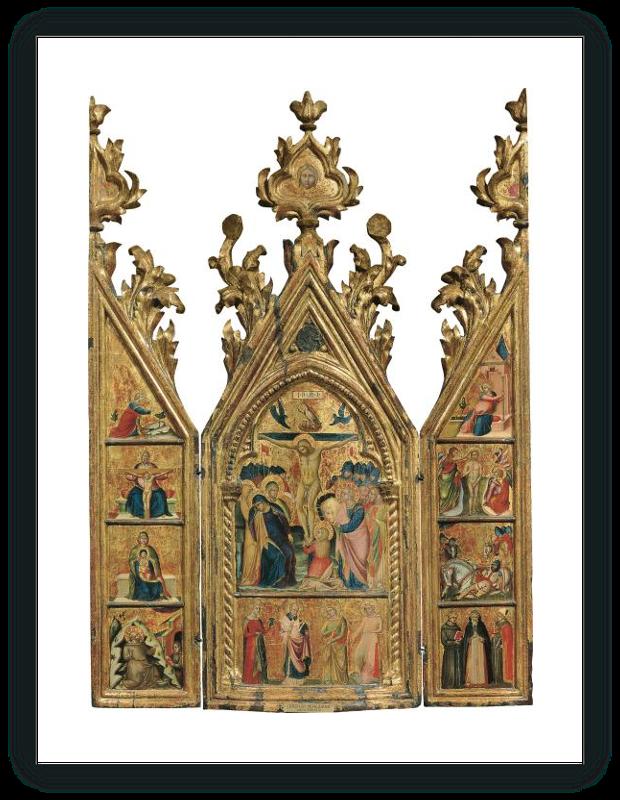 zoom Tríptico portátil: La Crucifixión (tabla central), El Arcángel Gabriel y otras escenas (tabla interior izquierda),La Virgen de la Anunciación y otras escenas (tabla interior derecha)