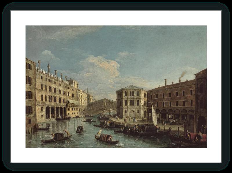 zoom El Gran Canal y puente de Rialto, Venecia, vistos desde el norte