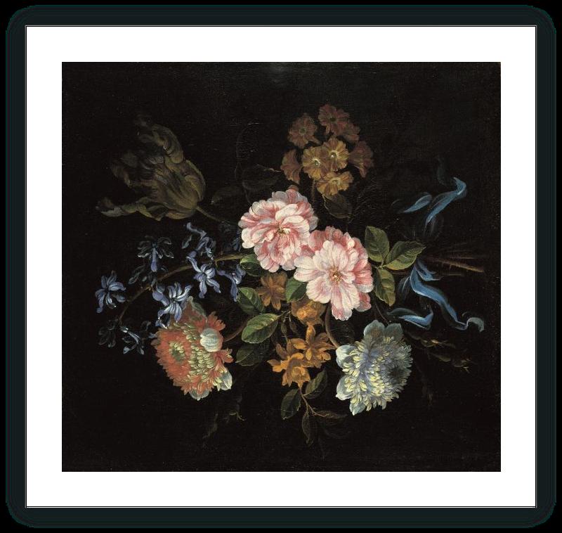 zoom Ramo compuesto por anémonas-coronarias, rosas de York y Lancaster y otras flores