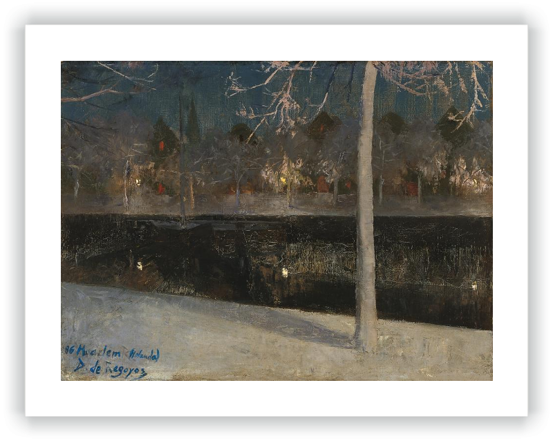 zoom Paisaje nocturno nevado (Haarlem)