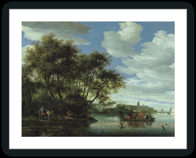 zoom Vista del río Vecht, con un embarcadero, pescadores y el Castillo de Nijenrode en la lejanía