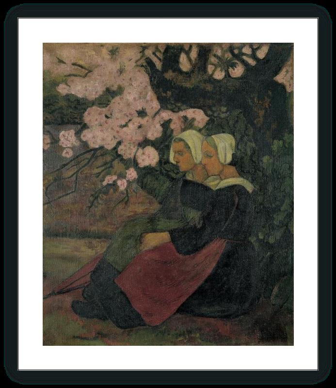 zoom Dos bretonas bajo un manzano en flor