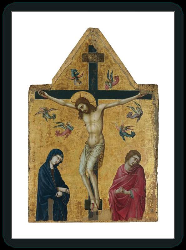 zoom La Crucifixión con la Virgen San Juan y ángeles