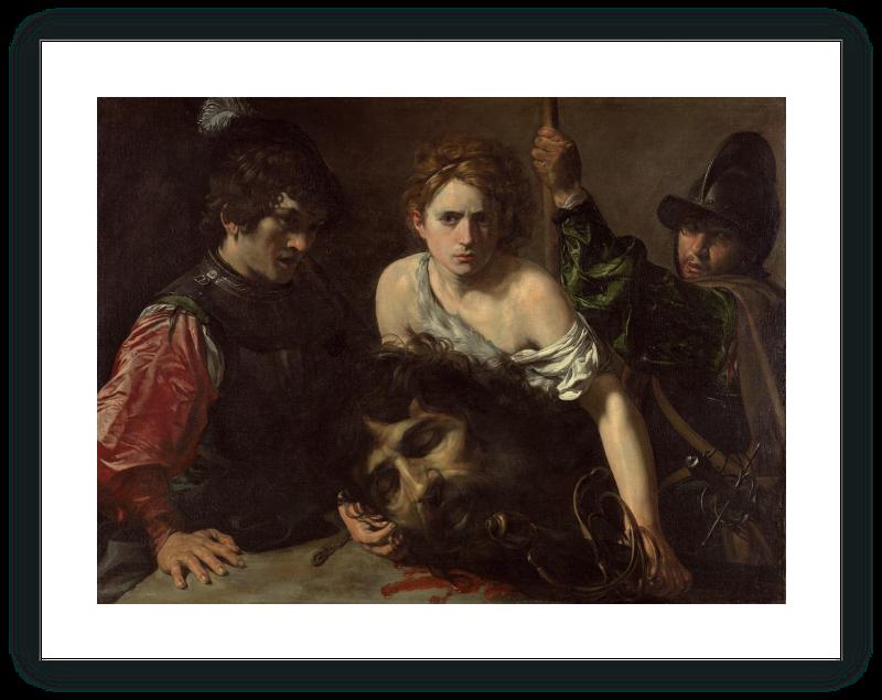 zoom David con la cabeza de Goliat y dos soldados