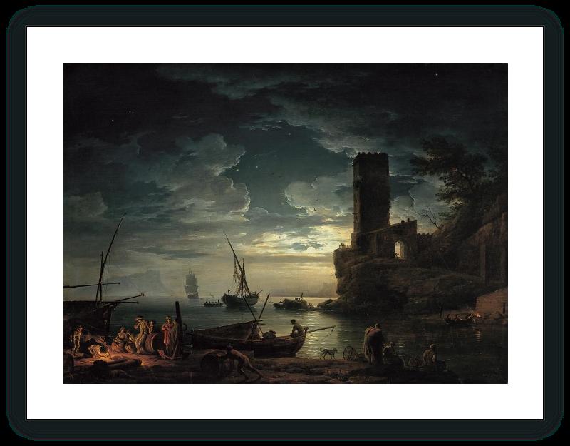 zoom Noche: escena de la costa mediterránea con pescadores y barcas