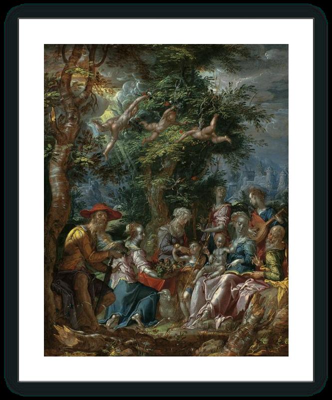 zoom La Sagrada Familia con ángeles y Santos