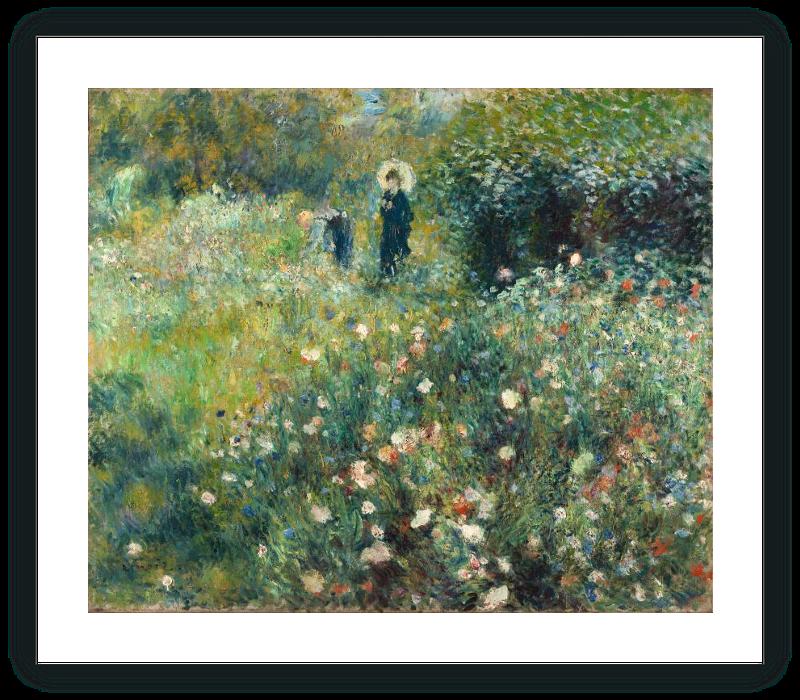 zoom Mujer con sombrilla en un jardín