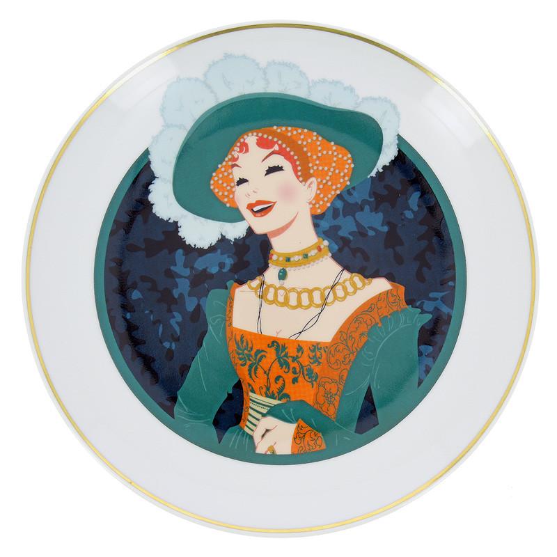 zoom Plato de porcelana ilustración Retrato de una dama