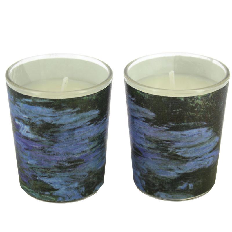 zoom Set de dos velas en vaso Nenúfares