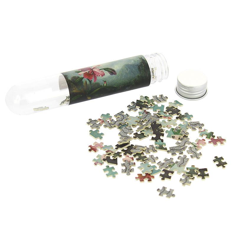 """zoom Micropuzle """"Orquidea y Colibri"""" de Martin Johnson Heade"""