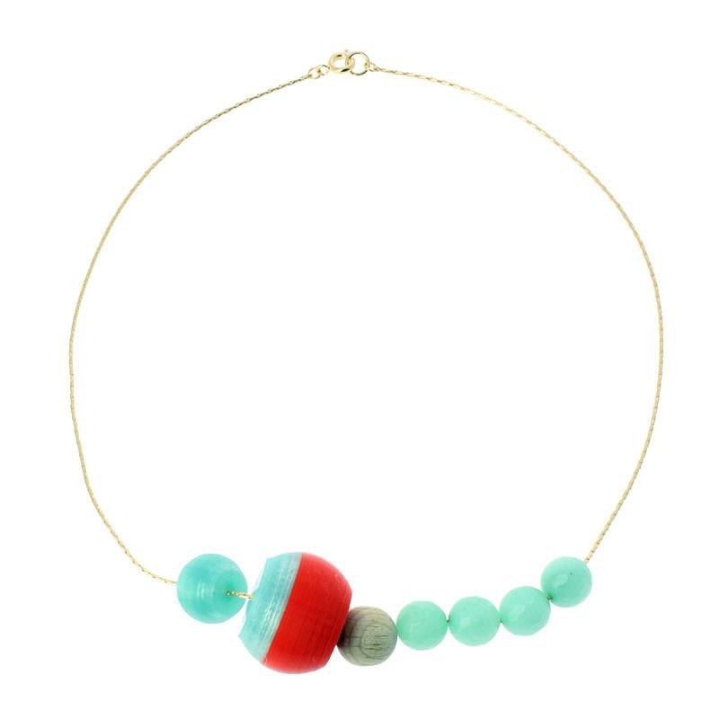 zoom Collar rojo y turquesa 7 piezas Sonia Delaunay por Helena Rohner