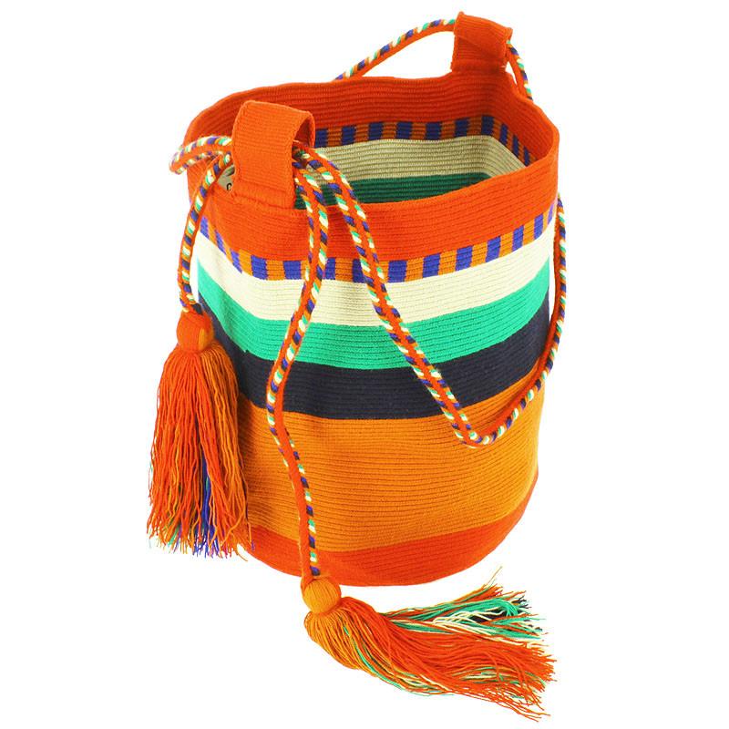 zoom Bolso grande Wayuu La portuguesa de Delaunay color rojo, naranja y azul