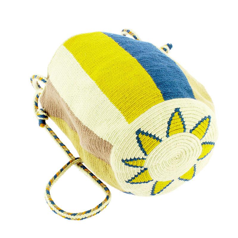 zoom Bolso pequeño Wayuu La portuguesa de Delaunay color mostaza y azul