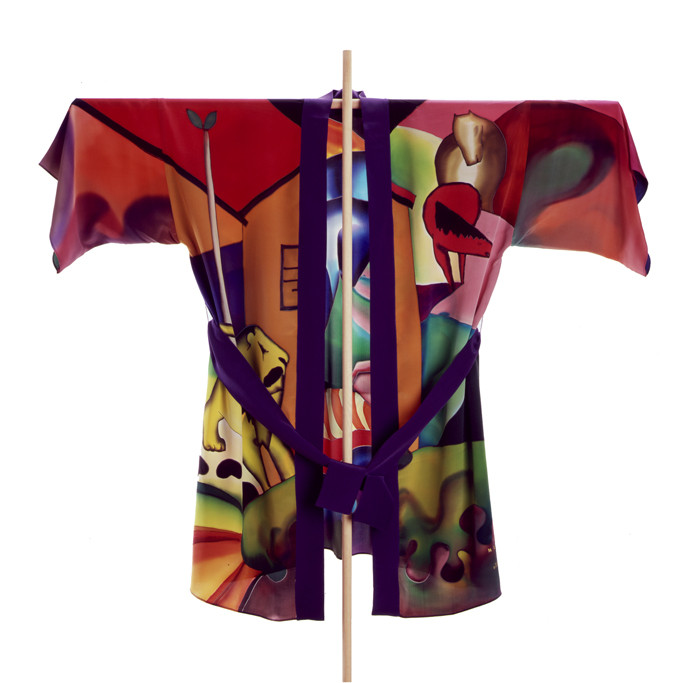 zoom Kimono corto seda pintado a mano