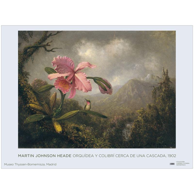 zoom Póster Martin Johnson Heade: Orquídea y Colibrí