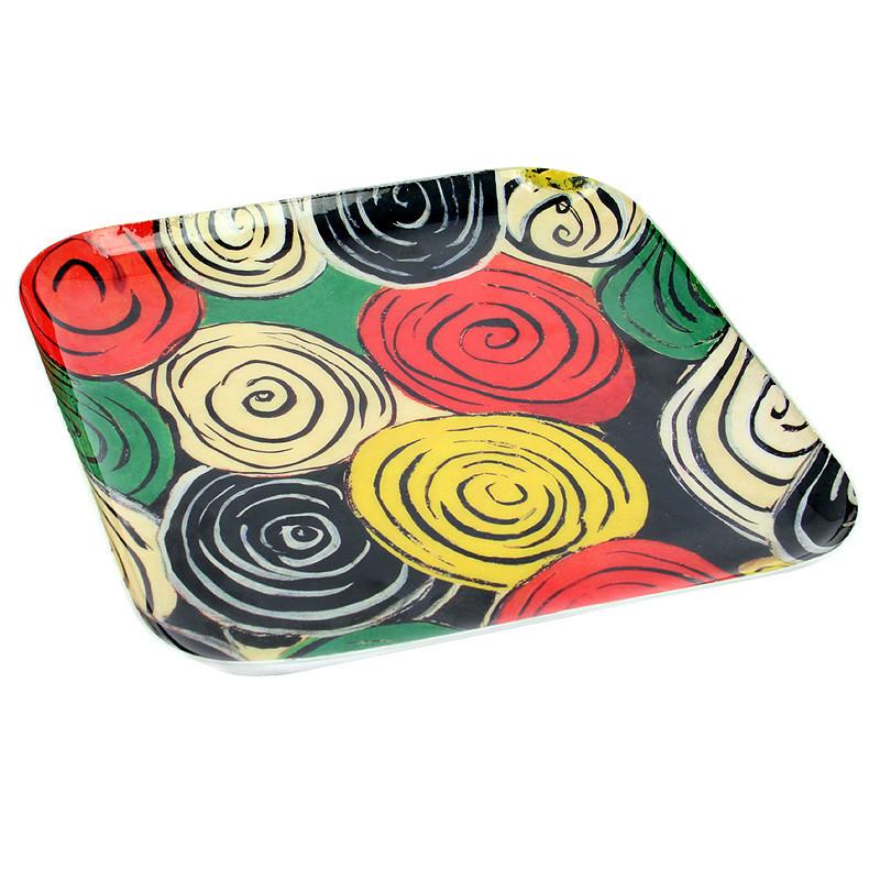 """zoom Bandeja cuadrada Sonia Delaunay """"Diseño para seda 1317"""""""