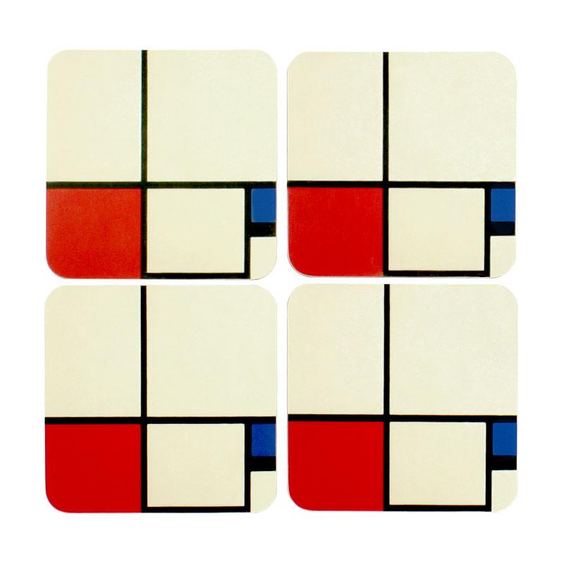 zoom Set 4 posavasos Mondrian
