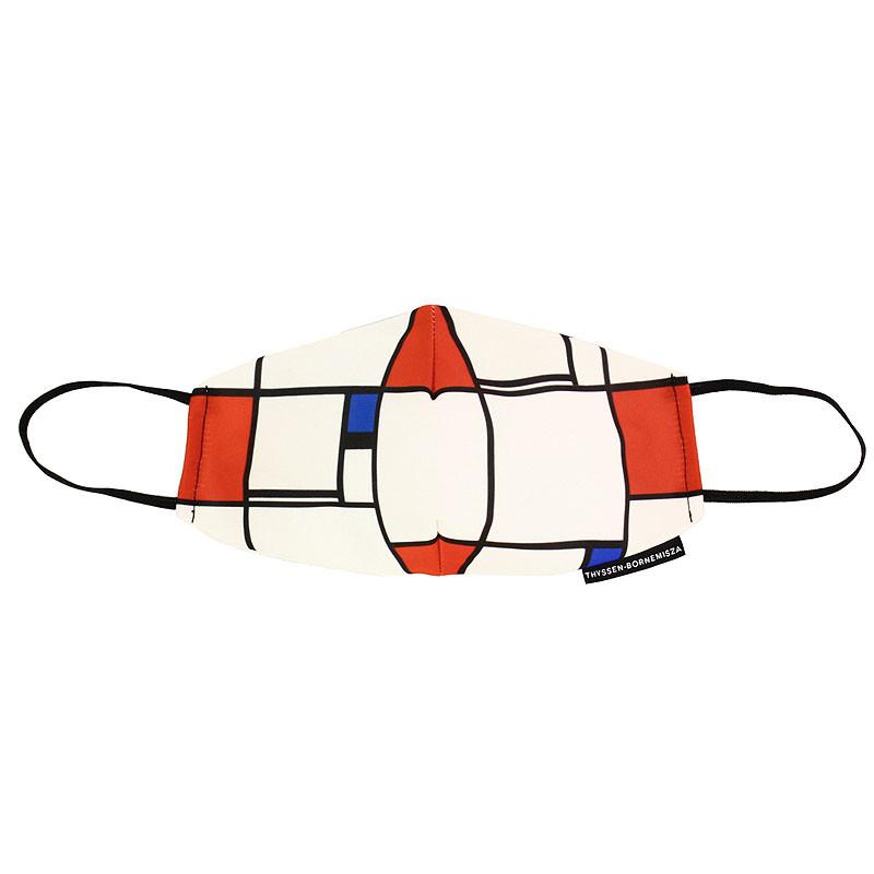 zoom Mascarilla Piet Mondrian Composición nº I con rojo y azul