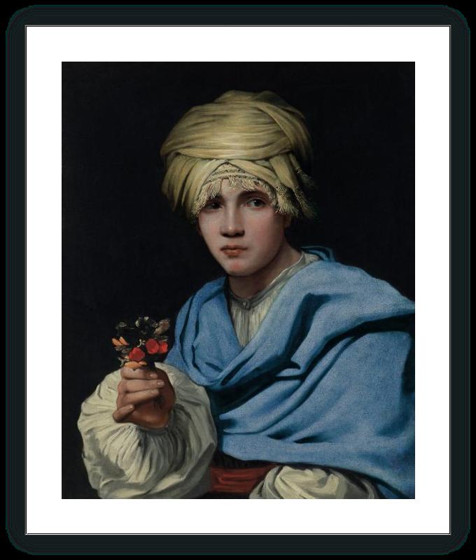 Muchacho con turbante y un ramillete de flores