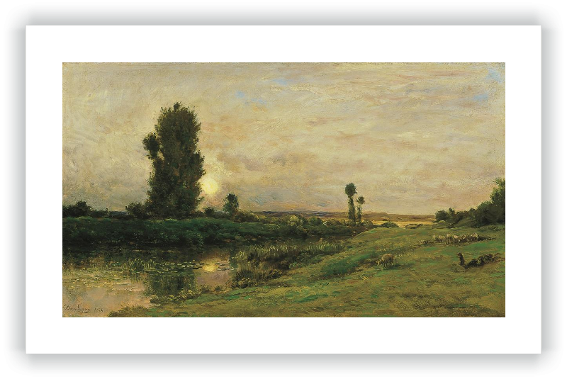 Salida de la luna en las riberas del río Oise