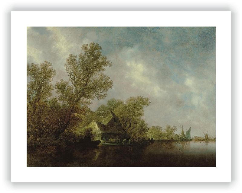 Paisaje fluvial con transbordador y cabañas