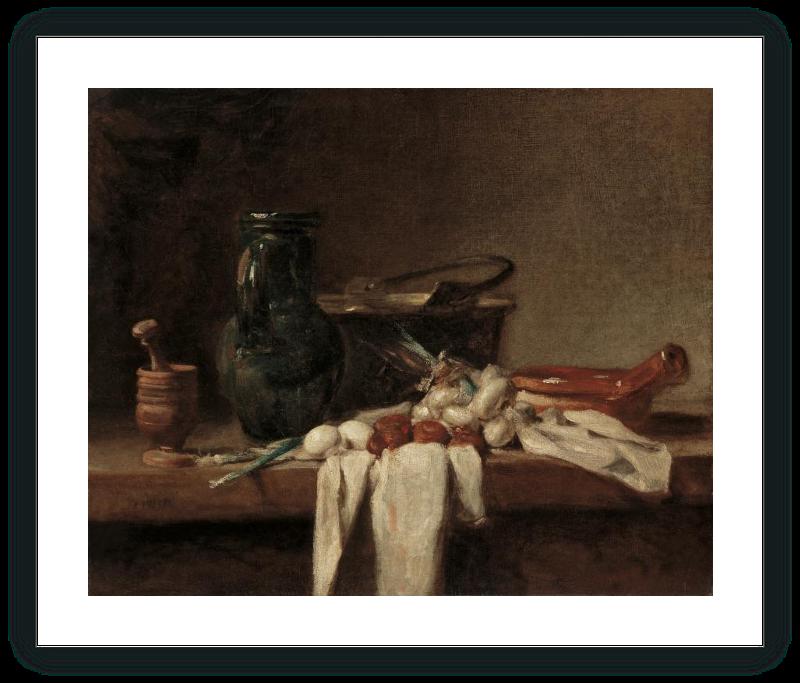 Bodegón con almirez, cántaro y caldero de cobre
