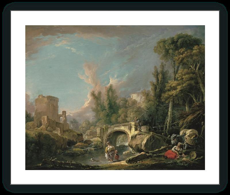 Paisaje fluvial con ruina y puente