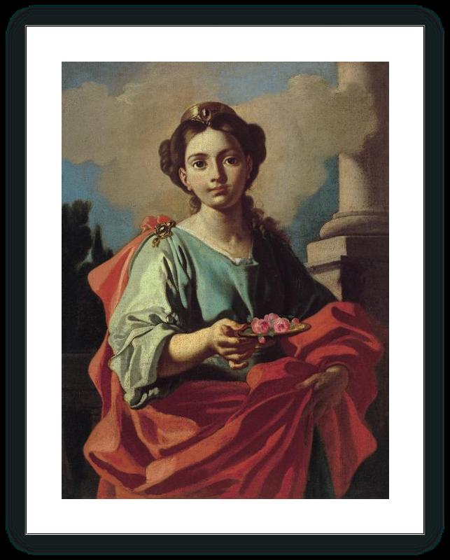 Santa sosteniendo un plato con rosas