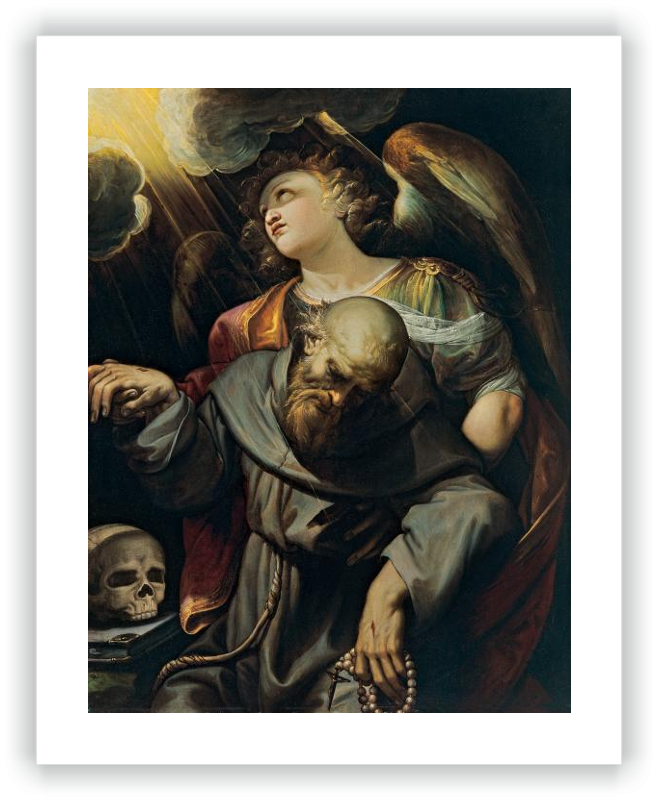 San Francisco estigmatizado, sostenido por un ángel