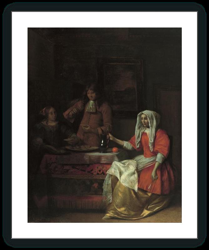 Interior con dos mujeres y un hombre bebiendo y comiendo ostras