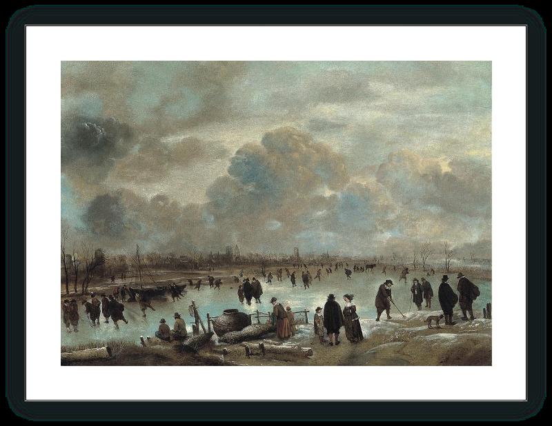 Escena de invierno con patinadores en un río helado