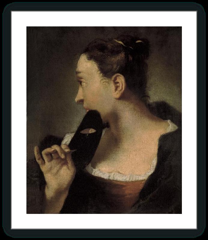 Retrato de una joven de perfil con una máscara en la mano derecha