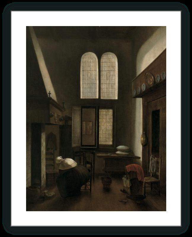Interior con una mujer sentada junto al hogar