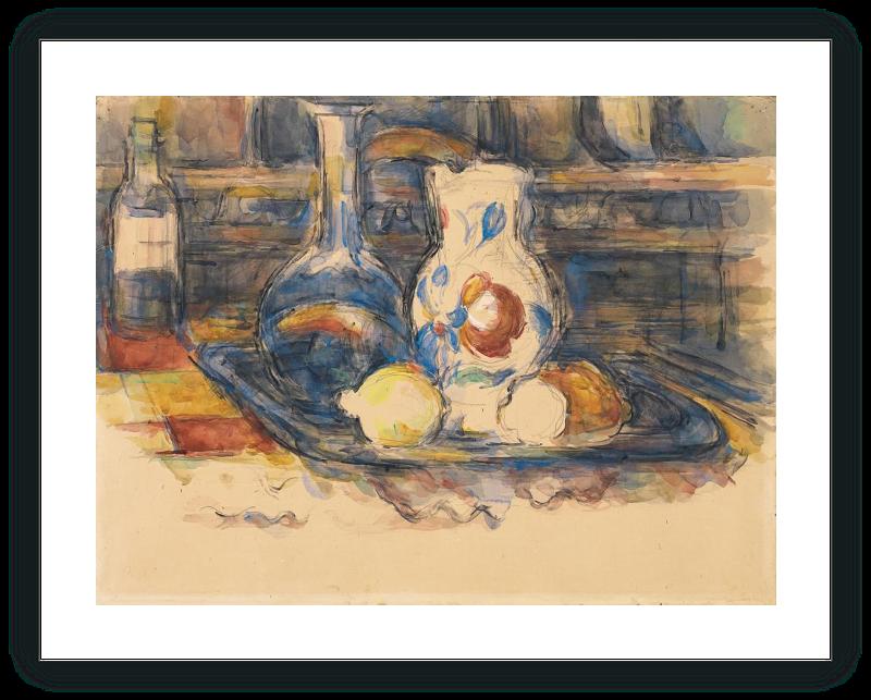 Botella, garrafa, jarro y limones