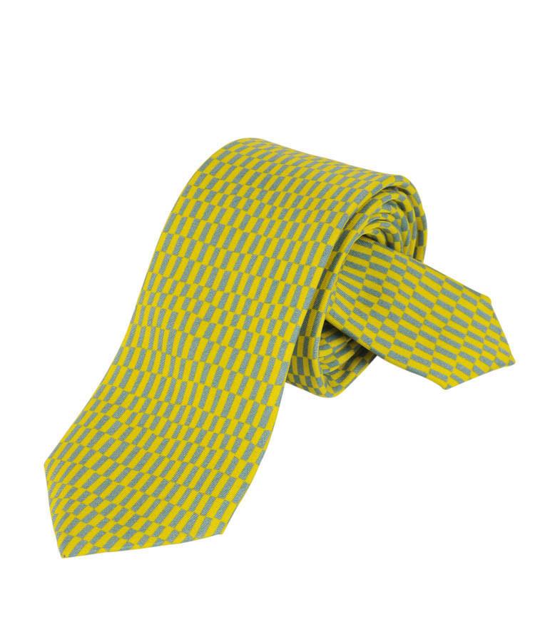 Corbata Delaunay rectángulos amarillos y grises