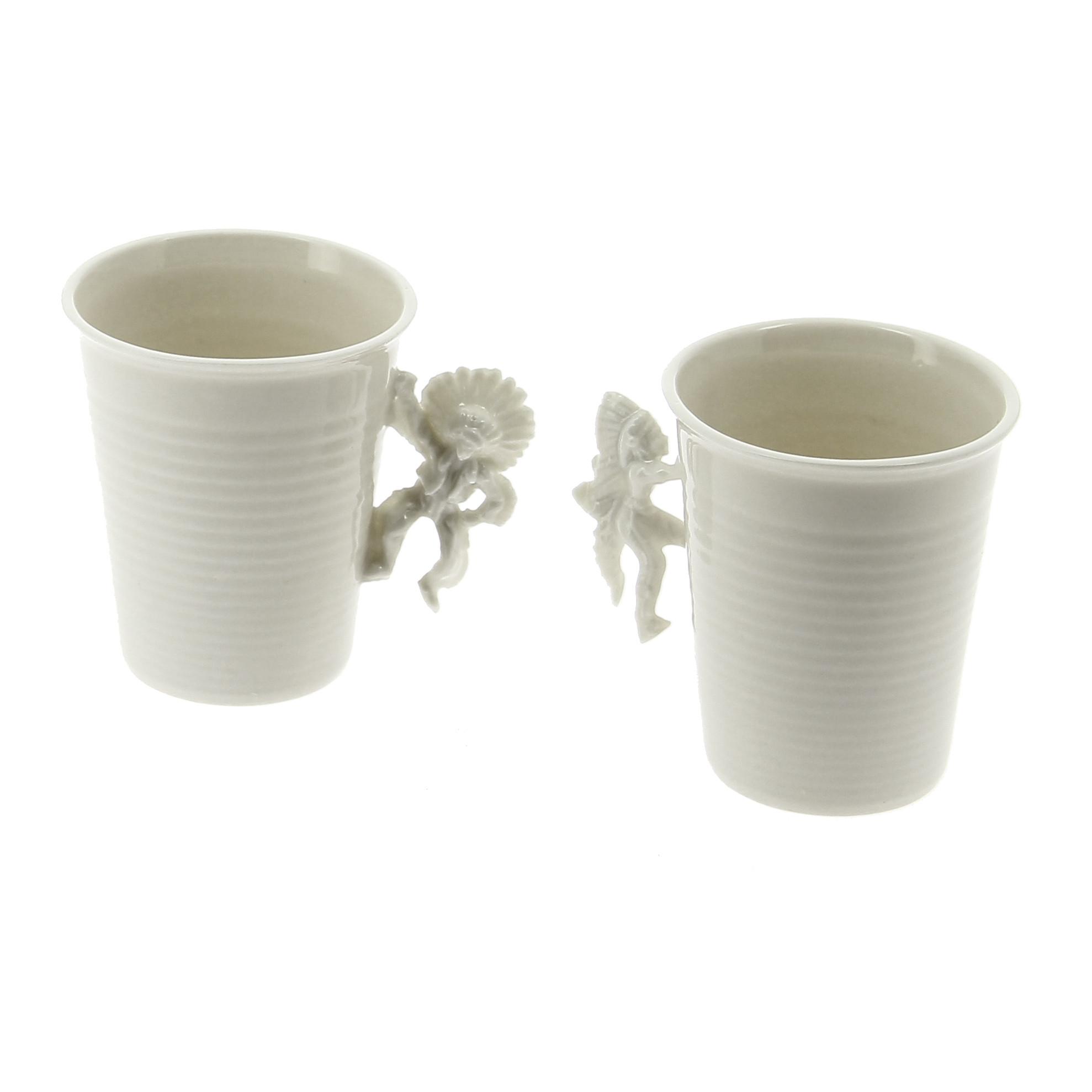 """Set de 2 tazas de porcelana """"La ilusión del lejano oeste"""""""